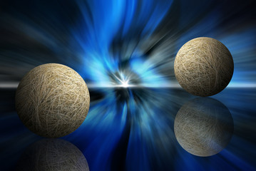 two hay spheres