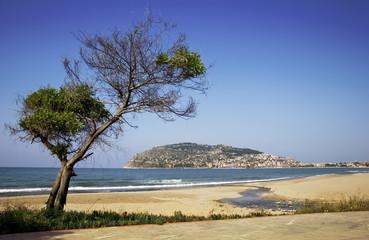 Alanya peninsula view from beach