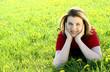 Leinwanddruck Bild - Woman on meadow