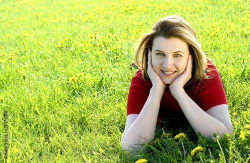 Leinwanddruck Bild Woman on meadow
