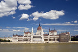 Budapest on the Danube before the parliament building. poster