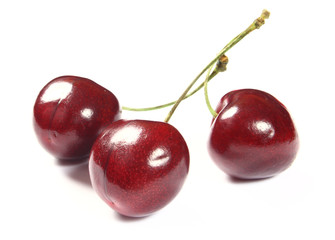 Fresh cherries on white