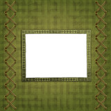 Old scarred photoframe on the abstract background with bow poster
