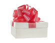 white box white pink satin ribbon on white background