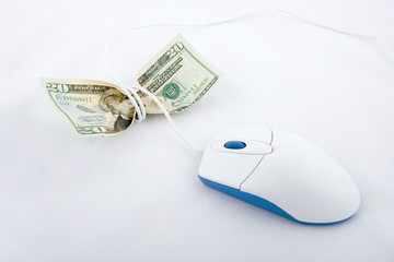 Mouse with cord crushing the paper money.