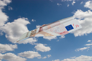 Airplane made from euro currency