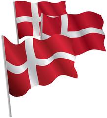 Kingdom of Denmark 3d flag. Vector illustration.