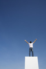 Man standing on pedestal or wall with arms up and blue sky