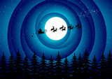 Santa Claus flying over the forest in an abstract sky