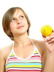 Cute lady with citrus fruit