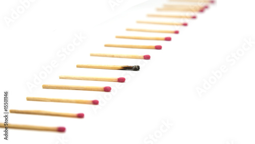 Row of matches with one standout