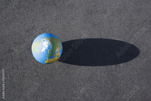Detailed view of globe outdoors with shadow
