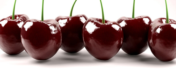Shot of six isolated red cherries © Strezhnev Pavel