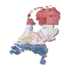 Netherlands Map flag with euros