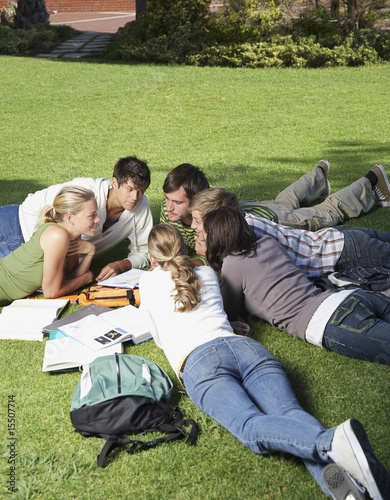 Six students in a study circle outdoors