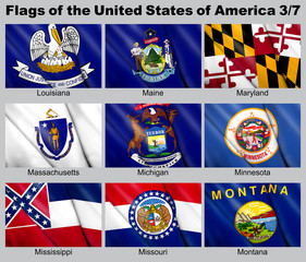 Flags of the USA with clipping path 3/7