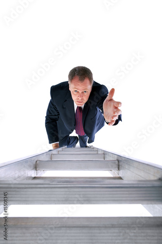 Businessman reaching for help
