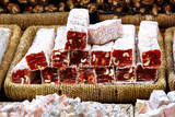 Sugar coated Turkish Delight bars (soft candy) with hazelnut poster