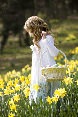 Girl Walking Through Daffodils with Basket Full Of Easter Eggs
