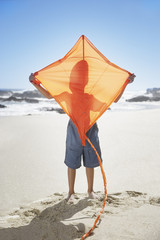 A young boy with a kite at the beach