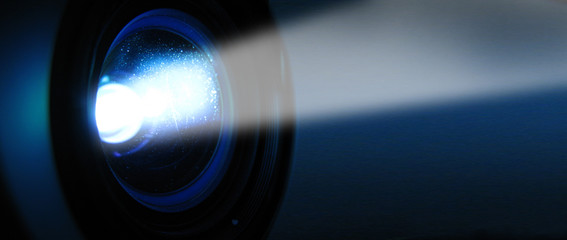Objectif et faisceau d'un projecteur