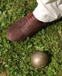 Boule de pétanque et chaussure