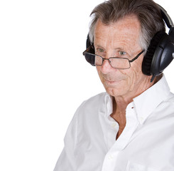 Isolated Shot of Senior Man with Headphones
