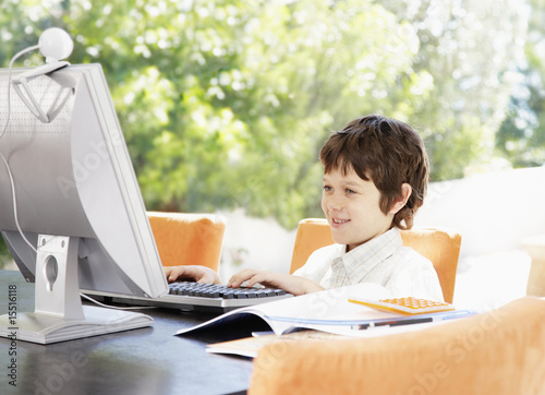 A young boy using a laptop