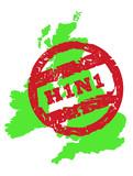Swine flu over United Kingdom poster