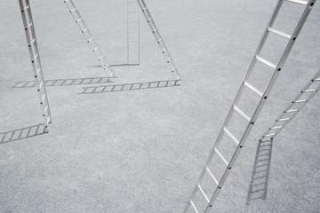 Six ladders outdoors