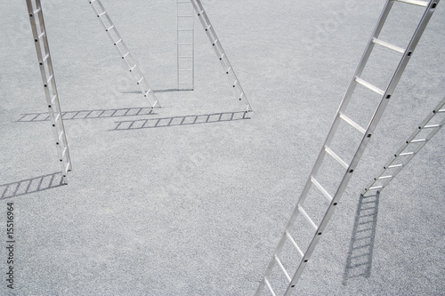 Six ladders outdoors