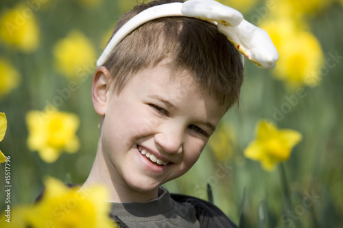 Young Boy Wearing Bunny Ears Smiling