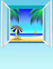 finestra su spiaggia-window and  beach-fenêtre et plage