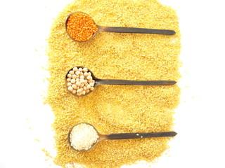 rice, chickpeas, lentils, bulgur and three spoons