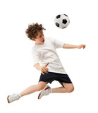Boy playing football isolated on white background