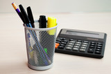 calculator and stationery poster