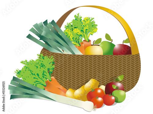 Keuken foto achterwand Boodschappen Panier de légumes et fruits