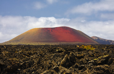 Vulcanic Red Mountain, in Lanzarote island, Spain