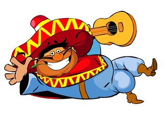 Happy mexican man with a guitar.