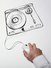 main connectée à musique et téléchargement web