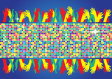 abstract square pixel points music background with hands poster