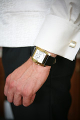 Shirt with cuff link and wristwatch