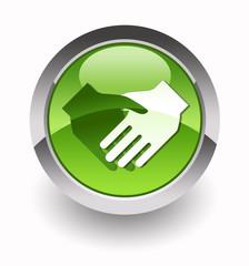 Handshake glossy icon