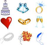 Fototapety Nine Hot pink glossy wedding web icons.