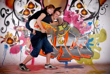 Teenagers urban graffiti
