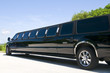 Leinwanddruck Bild - Black Stretch limousine waiting for guests to arrive