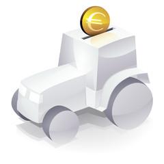 Tracteur blanc et investissement en euro (reflet)