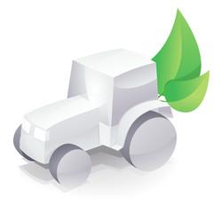 Tracteur blanc écologique (reflet)