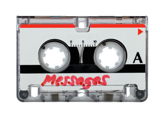 Mini cassette tape over white - clipping path included