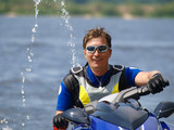 Smiling man on Wave Runner